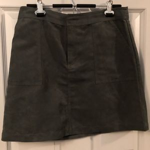 Green faux suede skirt